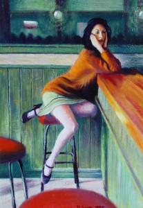 mujer sentada en bar-pedro sanz gonzález